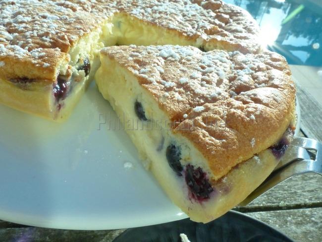 Gâteau magique aux myrtilles