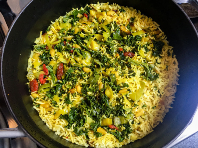 Riz au kale, façon pulāo