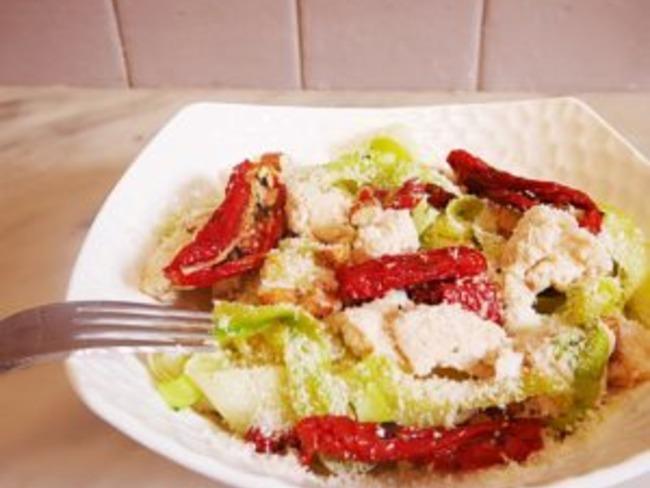 Tagliatelles de courgettes, tomates séchées et parmesan