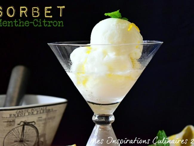 Sorbet au citron menthe sans sorbetière