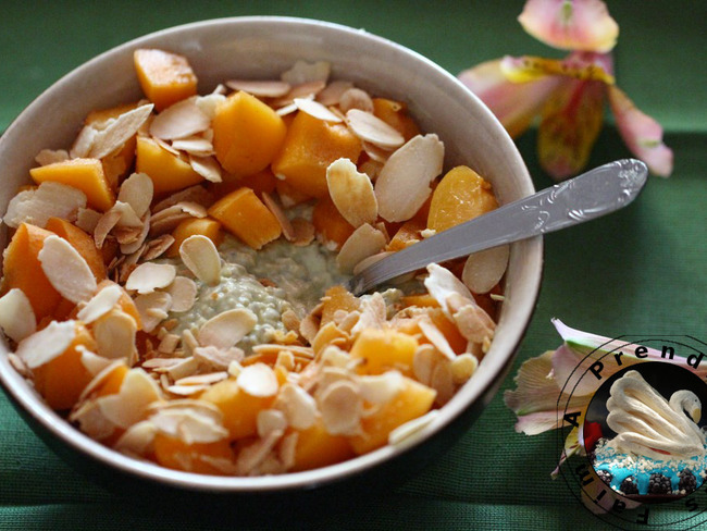 Flocons crémeux sans cuisson matcha abricots amandes