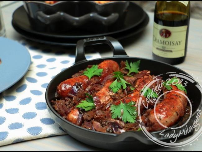 Potée de saucisses aux oignons rouges caramélisés de Gordon Ramsay