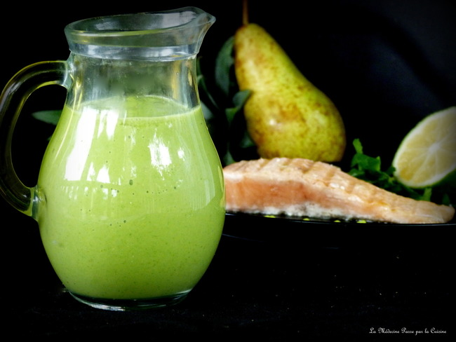 Sauce verte fruitée et sans cuisson pour poissons ou Saint Jacques