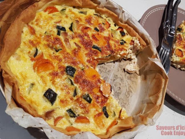 Quiche Gourmande Poulet, Courgette, Carotte au Lait d'Amandes