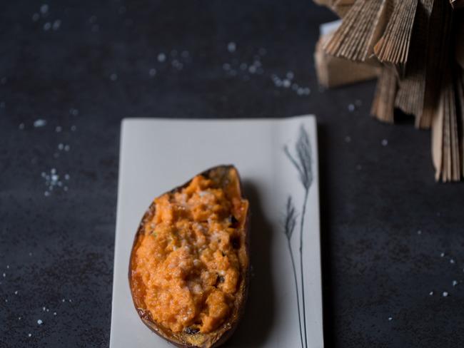 Patates douces farcies fromage frais et chorizo