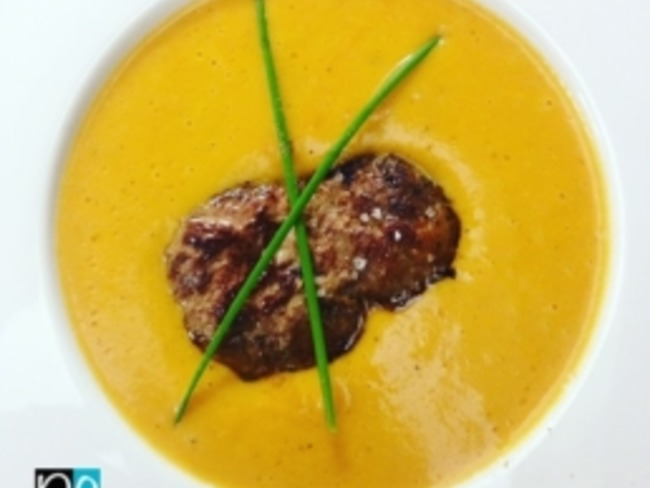Le velouté de potimarron au foie gras