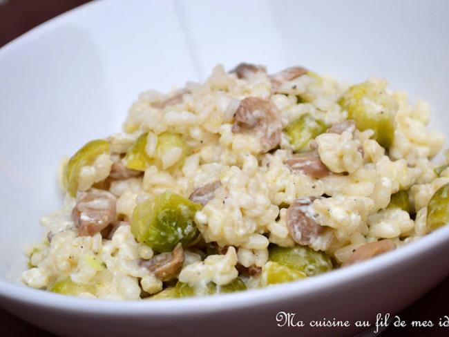 Risotto au mascarpone, choux de Bruxelles et champignons