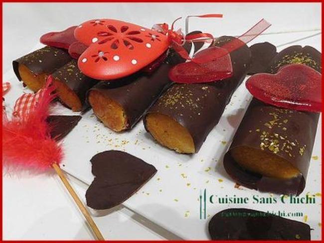 Roulé de la Saint -Valentin à la compotée de framboises et ganache montée à la pralinoise