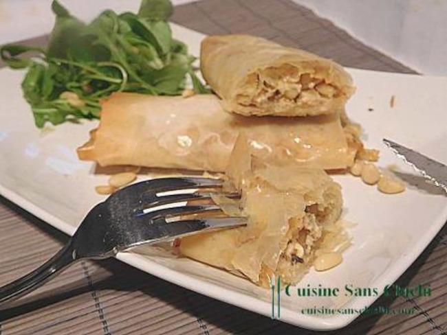 Feuilletés de pâte filo au miel et fromage de chèvre