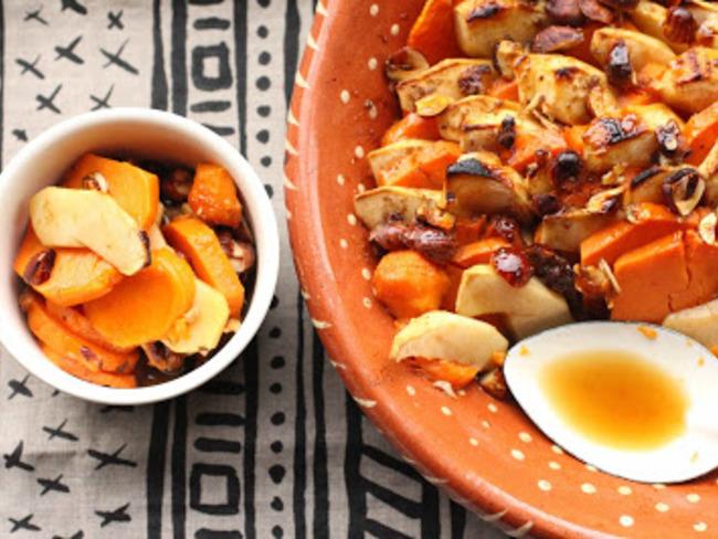 Patates douces et pommes gratinées au rhum