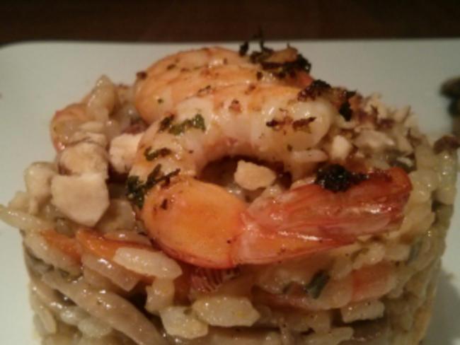 Risotto au potimarron, champignons, crevettes et noisettes