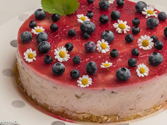 Cheesecake à la rhubarbe et aux framboises