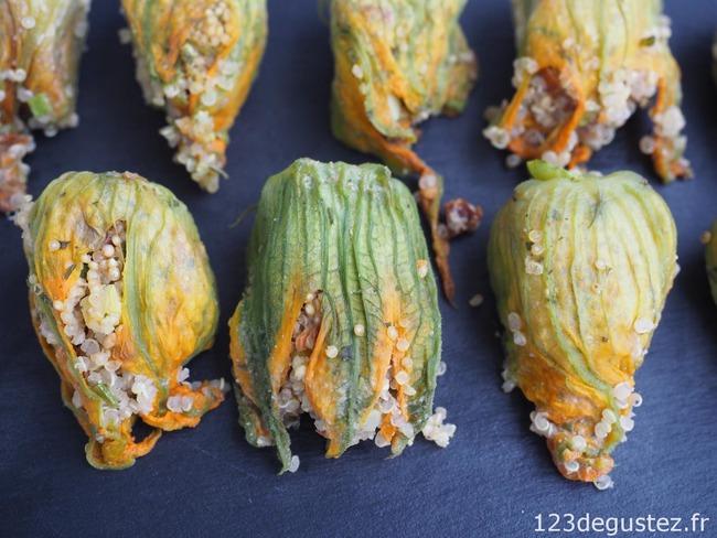 Fleurs de courgettes farcies quinoa et menthe