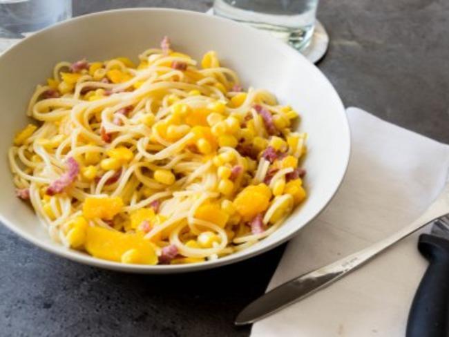 One pot pasta aux lardons et à la courge
