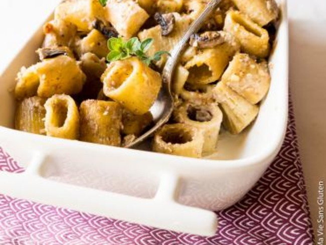 Gratin de pâtes aux champignons spécial lunch box