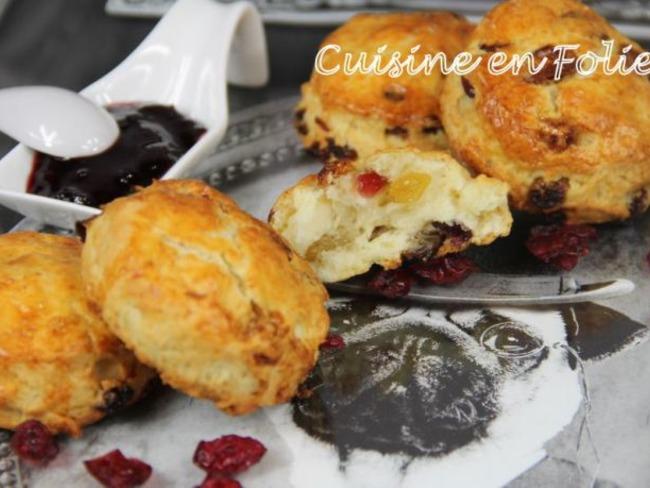 Scones aux raisins et cranberries