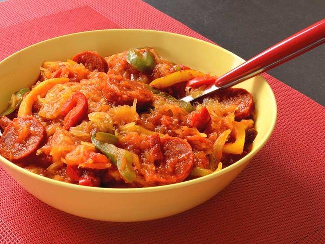 Courge spaghetti au chorizo