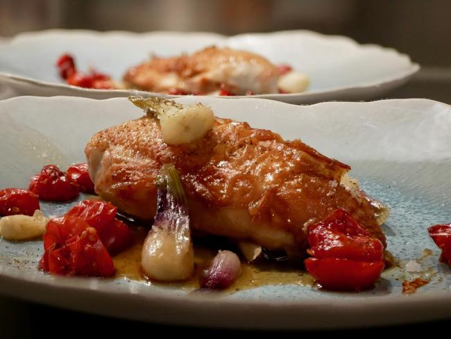 Suprême de volaille. Poêlée d'oignons et tomates cerises.