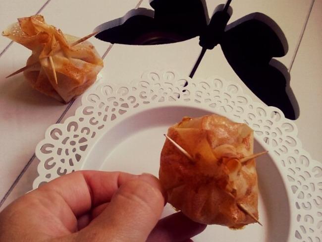 Aumônières de fruits en feuilles de brick