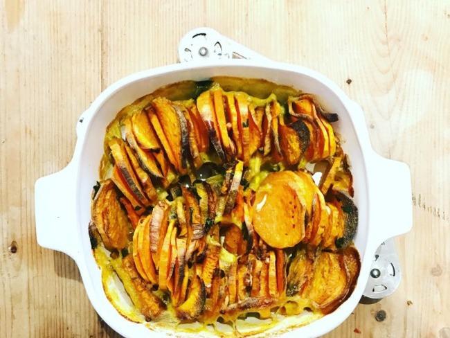 Tian rapide d 39 automne aux patates douces et carottes - Recette de cuisine pour l hiver ...