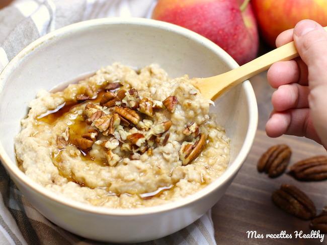 Porridge à la pomme et noix de pécan - Recette par Mes