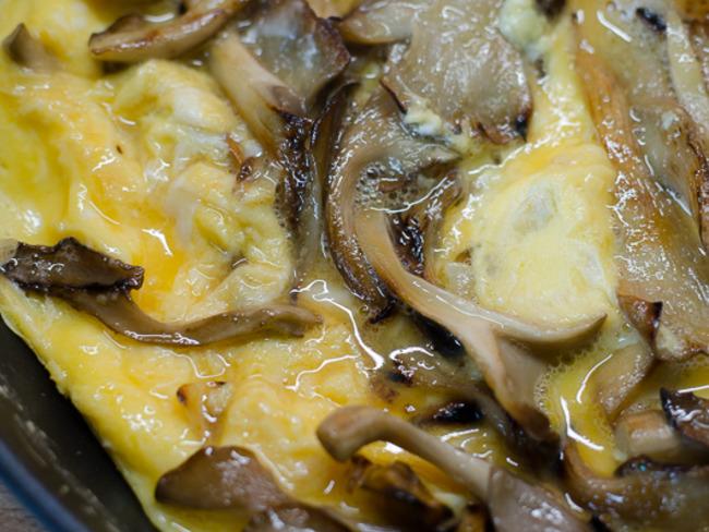 Omelette aux pleurotes gris