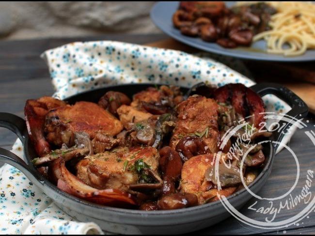 Filet mignon de porc au cidre et châtaignes et champignons persillés