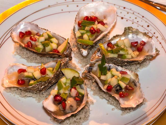 Huîtres en gelée de cidre au gingembre