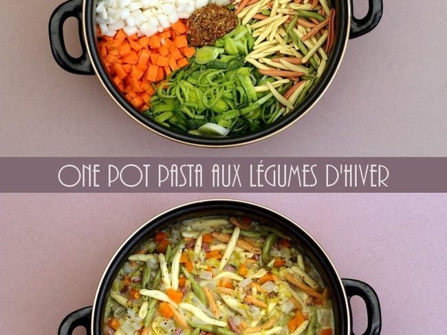 One pot pasta aux légumes d'hiver, bacon et sauce moutarde