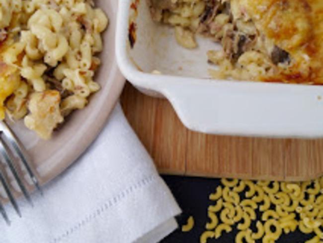 Gratin de coquillettes au jambon et champignons