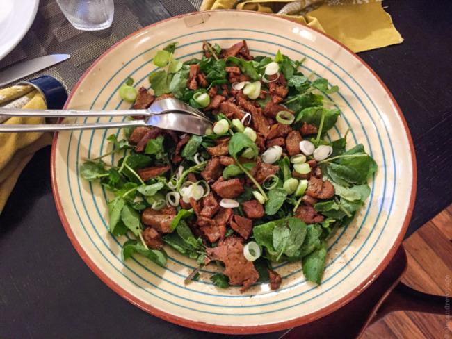 Salade de cresson au seitan