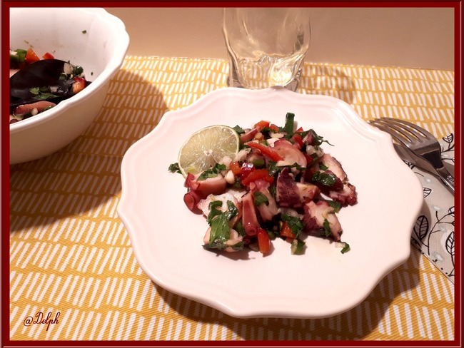 Salade de poulpe aux deux poivrons