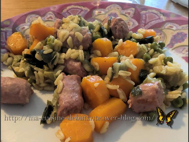 Ebly aux chipolatas et ses légumes