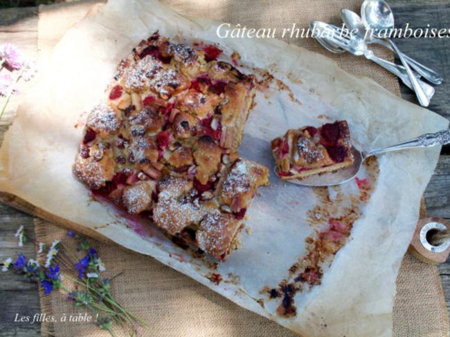 Gâteau crumble à la rhubarbe et aux framboises