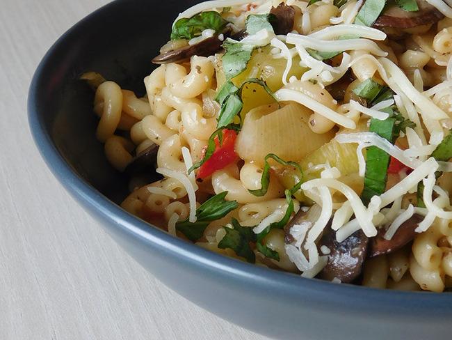 One pot pasta champignon poireau