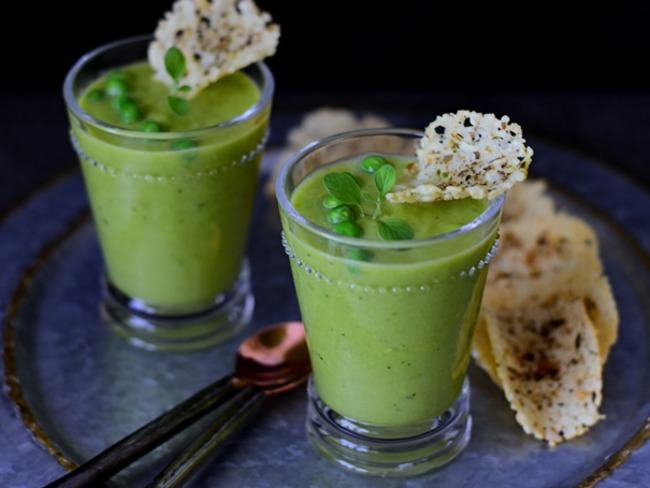 Soupe froide petits pois menthe
