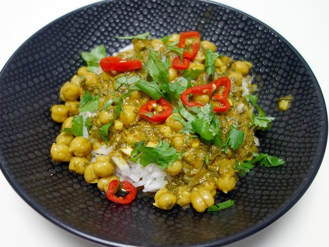 Curry pois chiches épinards