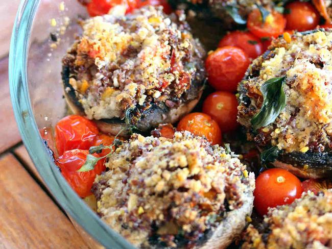Champignons de Paris farci au quinoa rouge bio