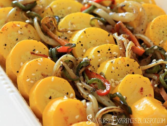 Salade de courgettes jaunes et poivrons