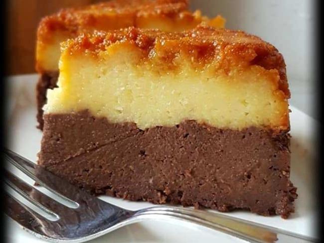 Gâteau de semoule au caramel et chocolat - Recette par Une ...