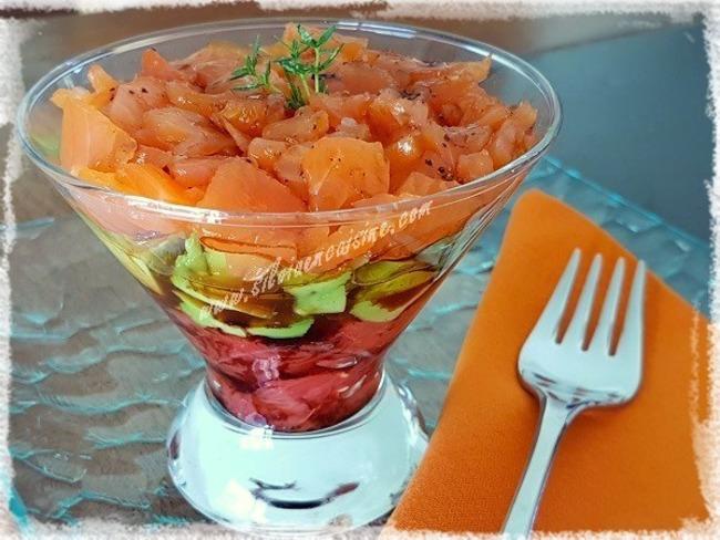 Salade tricolore au saumon fumé