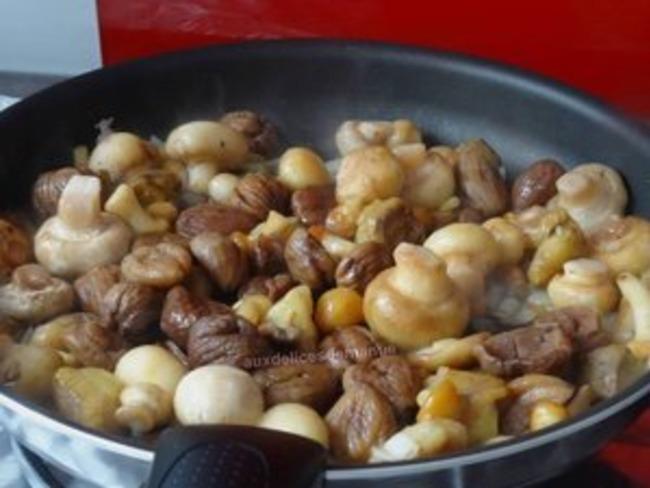 Poêlée de champignons et marrons au cidre