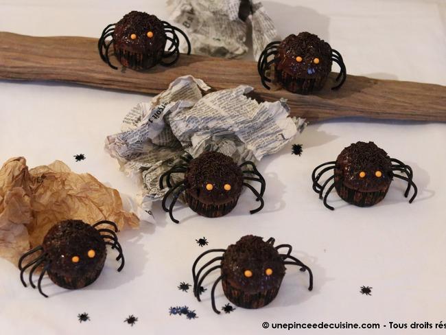 Cupcakes araignées d'Halloween