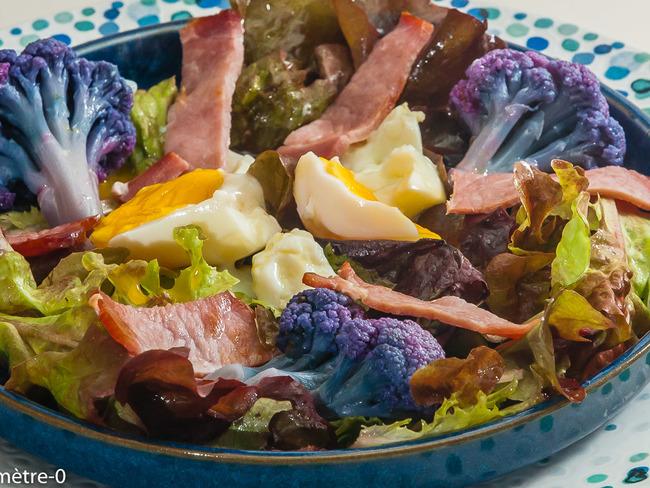 Salade de chou fleur violet, bacon et oeuf - Recette par kilometre-0