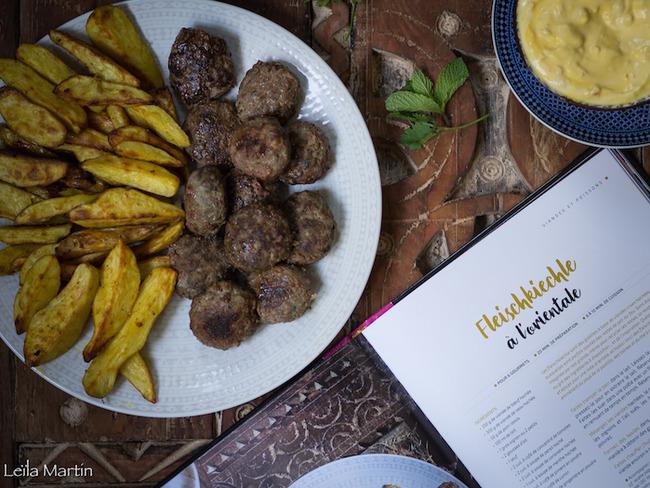Galettes de viande à l'orientale, bibeleskaes safran et citron confit