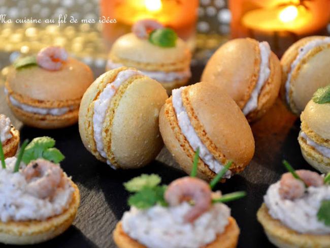 Macarons à la mousse de crevettes roses et grises