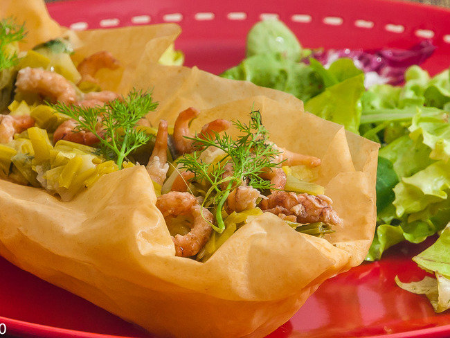 Barquette de poireaux et crevettes