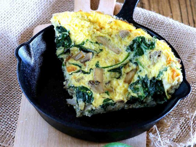 Omelette aux épinard et champignons