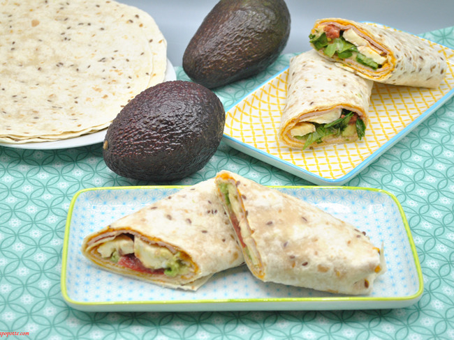Wraps de jambon, avocat, fromage