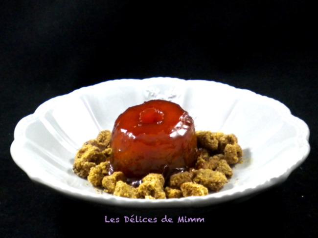 Pomme confite au cidre sur un streusel aux noisettes